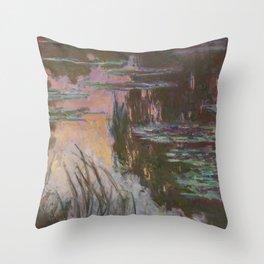 Water-Lilies, Setting Sun by Claude Monet Throw Pillow