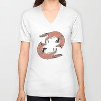 foxes V-neck T-shirts featuring Foxes by nicolaporter