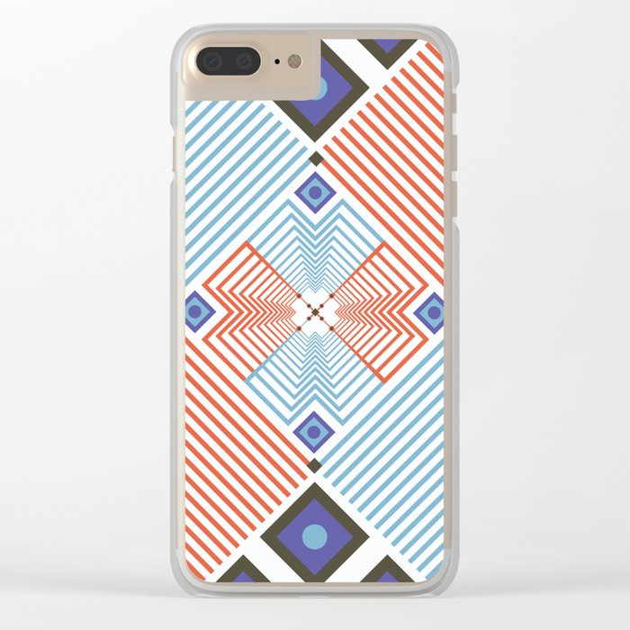 Blue red stripes Clear iPhone Case