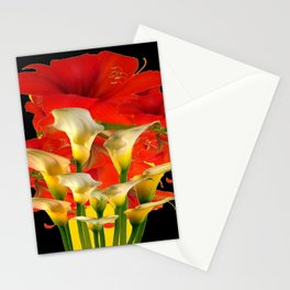 RED FLORALS & YELLOW CALLA LILIES BLACK ART Stationery Cards