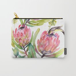 King Protea and Bird Watercolor Illustration Botanical Design Carry-All Pouch