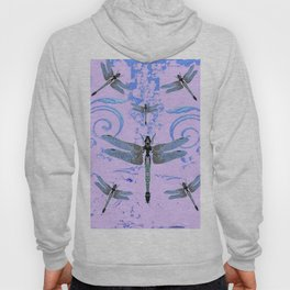 DELICATE BLUE & LILAC DRAGONFLIES ABSTRACT ART Hoody