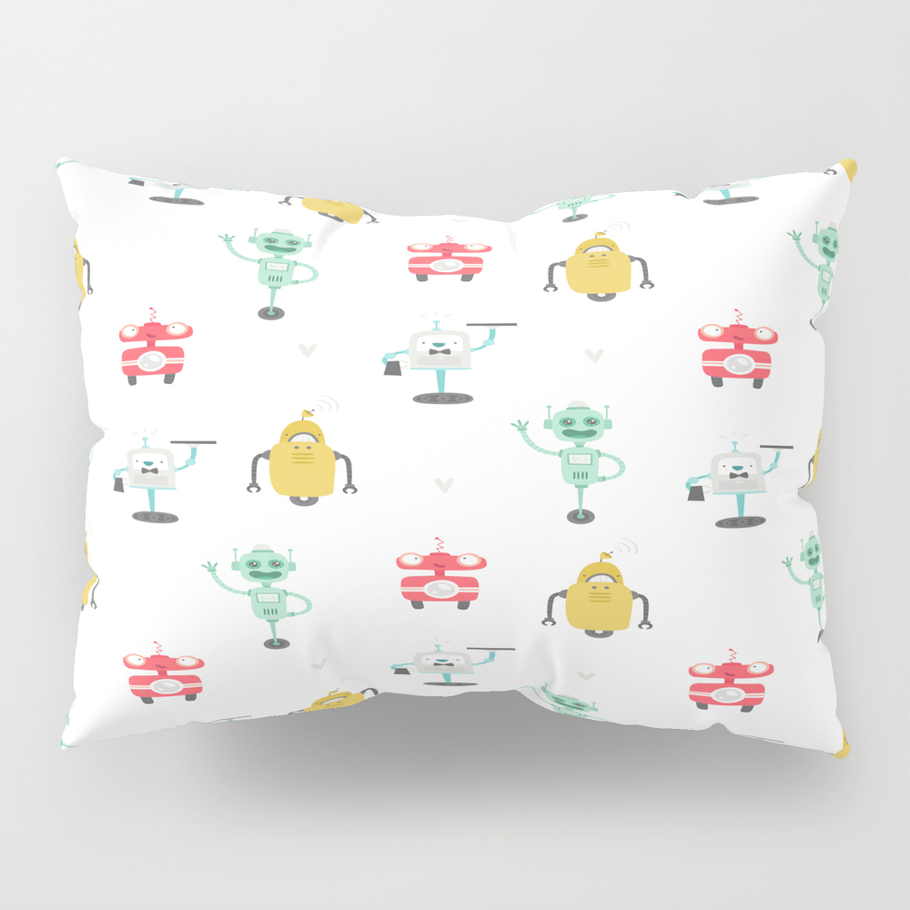 Robot Doodles Pillow Sham by Msjay PSH8735544