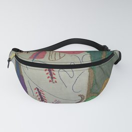 Bird on textures and patterns Fanny Pack