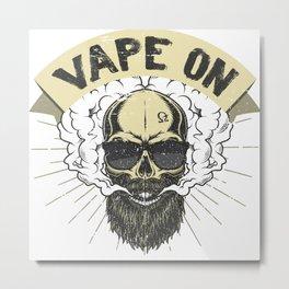 Cloud Chaser - Vaping Bearded Skull - Vape On Metal Print