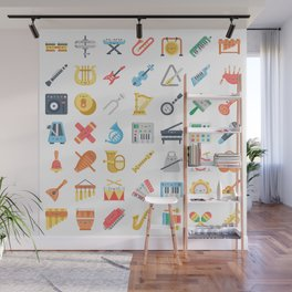 CUTE MUSICAL INSTRUMENTS PATTERN Wall Mural