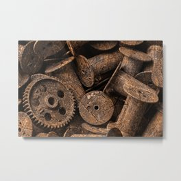 Cracked Wood Bobbins Metal Print