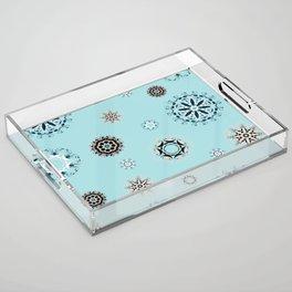 Blue Mandala, Pattern, Digital Design, Shapes Acrylic Tray