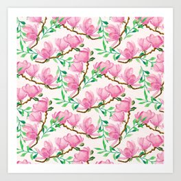 Cute colorful floral pattern with pink flowers Art Print