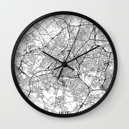 Lille Map Gray Wall Clock