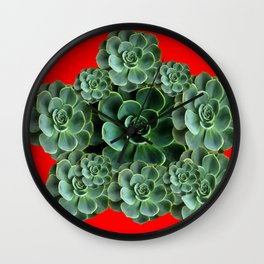 CHINESE  RED ART JADE GREEN SUCCULENTS Wall Clock
