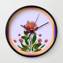 PEACHY PINK ROSE ART NOUVEAU ART Wall Clock