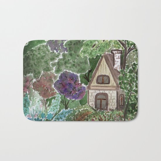 House in the garden . watercolor . Bath Mat