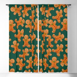 Forest green brown red christmas ginger bread man Blackout Curtain