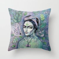 magical girl Throw Pillows featuring Magical Girl Frida by Brettisagirl