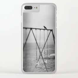 Waiting   a little black bird on the swing set Clear iPhone Case