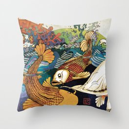 Koi & Egret Throw Pillow