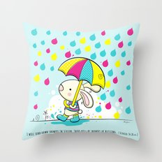 Rain Rabbit ezekiel 34:26 Throw Pillow