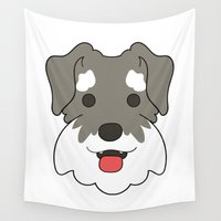 schnauzer Wall Tapestries featuring Miniature Schnauzer by Sugar and Spice Menagerie