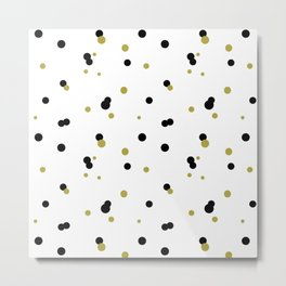 Gold and black dots pattern Metal Print