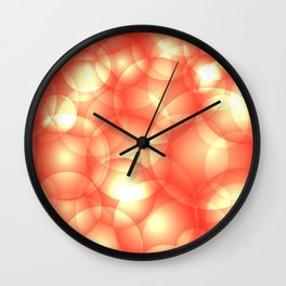 Gentle intersecting orange translucent circles in pastel shades with glow. Wall Clock