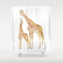 Mother and Baby Giraffes Shower Curtain