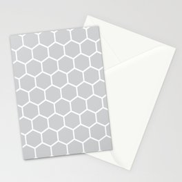White and gray honeycomb pattern Stationery Cards