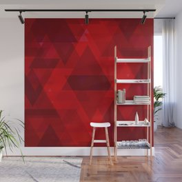 Bright red large triangles in the intersection and overlay. Wall Mural