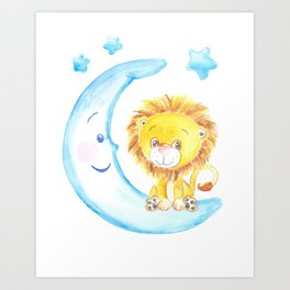 baby lion, blue moon with stars, baby boy room, baby shower gift, watercolor painting Art Print