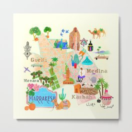 Illustrated map of Marrakech Metal Print