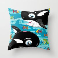 killer whale Throw Pillows featuring Killer Whale & Fish by markmurphycreative