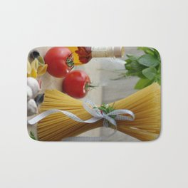 Delicious Italian noodles in the kitchen still life Bath Mat