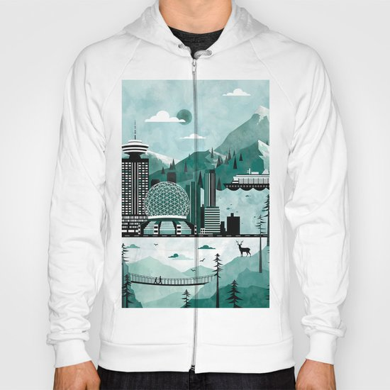 Vancouver Travel Poster Illustration Hoody