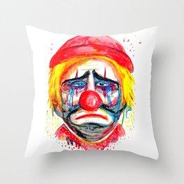 Sad Clown Throw Pillow