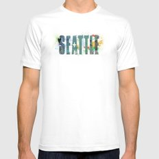 Seattle MEDIUM White Mens Fitted Tee