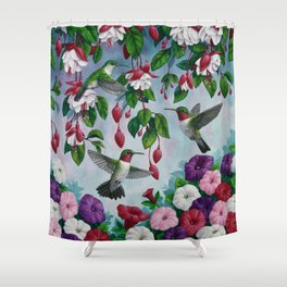 Hummingbirds in Fuchsia Flower Garden Shower Curtain