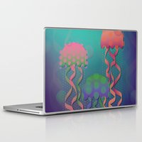 polka dot Laptop & iPad Skins featuring Polka Dot Jellyfish by Graphic Tabby