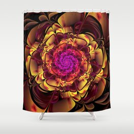 Beautiful Lantana Camara Sunrise Fractal Flowers Shower Curtain
