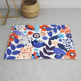Retro Floral Pattern 2 Rug