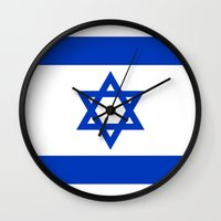 palestine Wall Clocks featuring The National flag of the State of Israel by LonestarDesigns2020 is Modern Home Decor