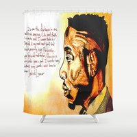 kendrick lamar Shower Curtains featuring Kendrick Lamar by Monroe the artist