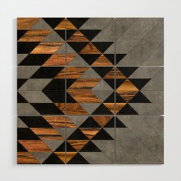Urban Tribal Pattern No.10 - Aztec - Concrete and Wood Wood Wall Art