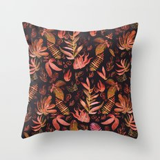 brown watercolor leaves Throw Pillow