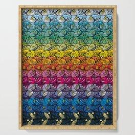 Escher Fish Rainbow Pattern Serving Tray