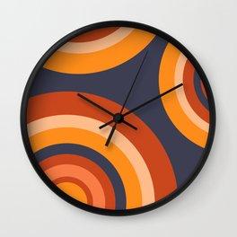 Blue Retro Circle Rainbow Pattern Wall Clock