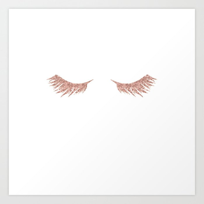 Pretty Lashes Rose Gold Glitter Pink Art Print By