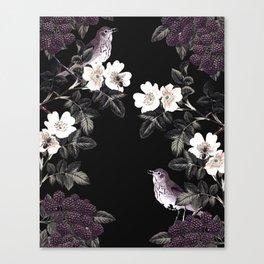 Blackberry Spring Garden Night - Birds and Bees on Black Canvas Print