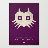 majoras mask Canvas Prints featuring The Legend of Zelda: Majoras Mask- Nintendo 64 Minimalist by timmyb