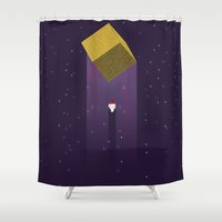 fez Shower Curtains featuring -Fez Beam me up- by MREdesign