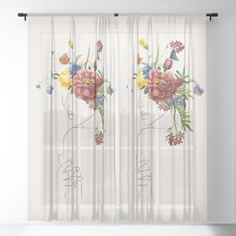 Abstract Women Flowers Sheer Curtain